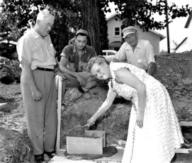 G'town Post Office Mrs. Eckert laying cornerstone Aug. 1955