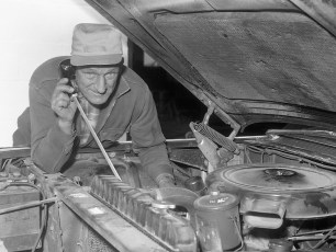 BECO's new listening device tested by Rich Ahrens on motor block G'town 1962