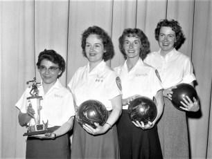GTel Bowling Team Rose Matone, Ruth Brant, Connie Fingar, Shirley Brown 1961