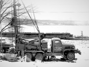 Hugh McLean & Sons drilling in Cheviot 1960 (1)