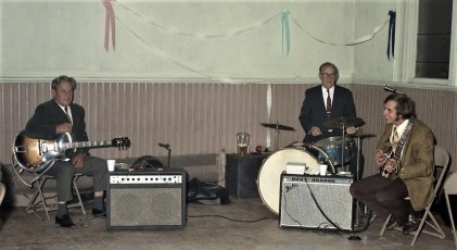 Bus & Barry Couchman with Ralph DiGiuseppe on drums at Faith Coon's wedding G'town 1971
