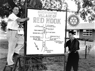 Rotary Club installing new Village of Red Hook sign 1959