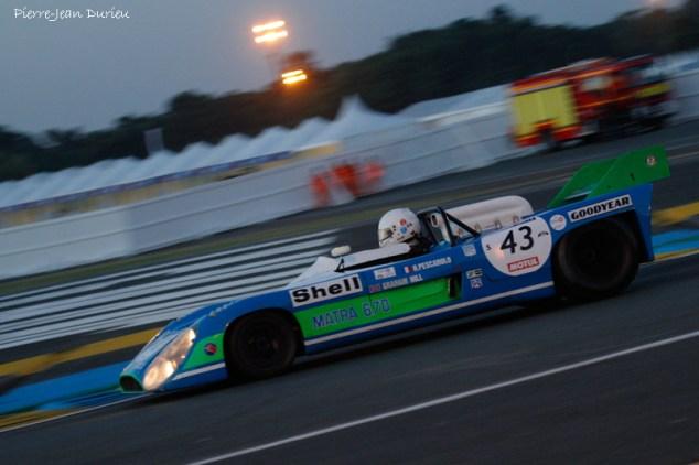 Matra 660 déguisée selon la décoration de la 670 gagnante en 1972. Le Mans, 9 juillet 2016