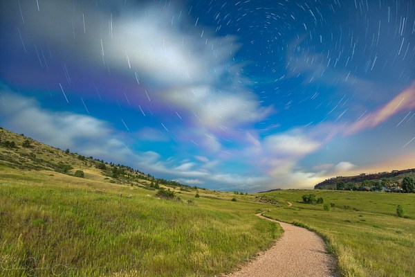 Star Trails during a Full Moon by Jeanie Sumrall-Ajero