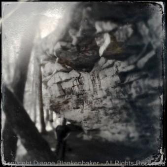 Background rock in focus