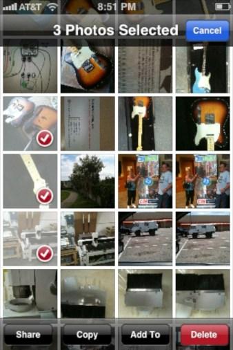 iOS6 - Selected Photos and Copy Button at bottom of screen