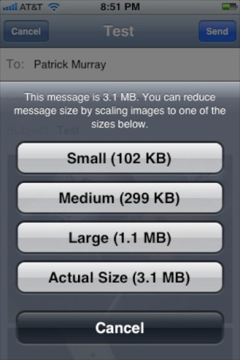 iOS6-Choose the size most appropriate for the purpose of your email/photos