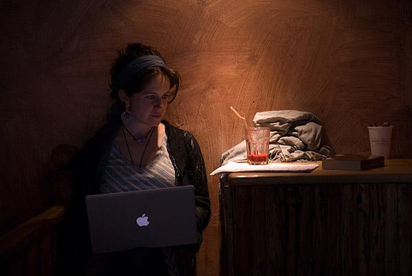 Laptop cafe lady