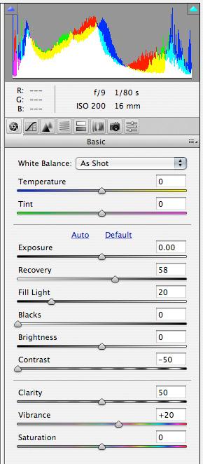 Correcting the JPEG - settings