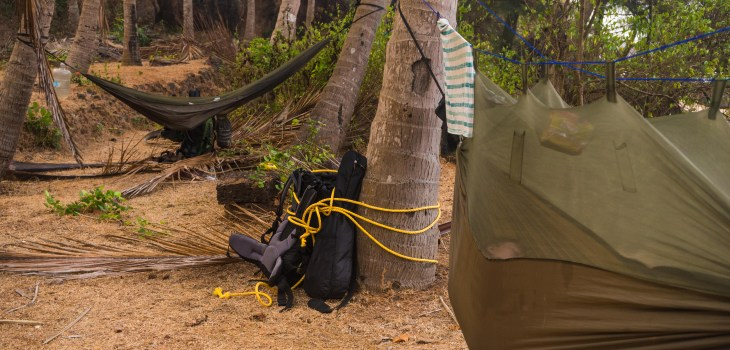 Our hammock camp set up on the beach in Kalwa, India