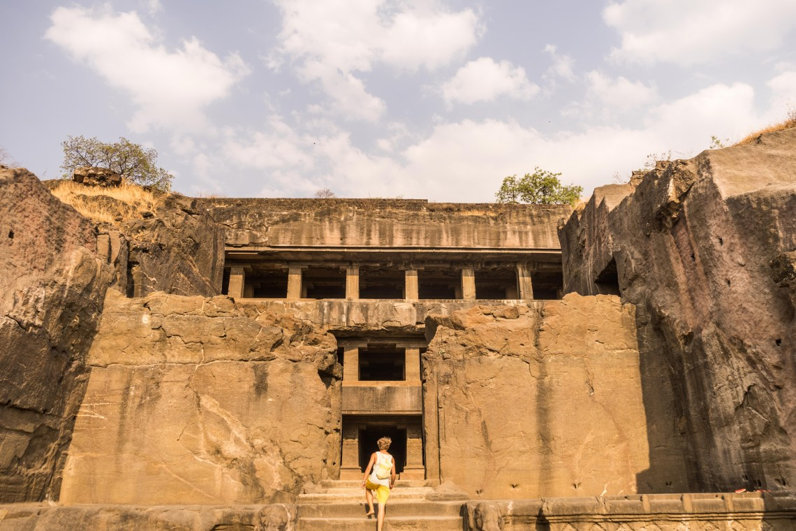 One of the big Buddhist temple caves in the UNESCO-world heritage Ellora caves complex close to Aurangabad, India