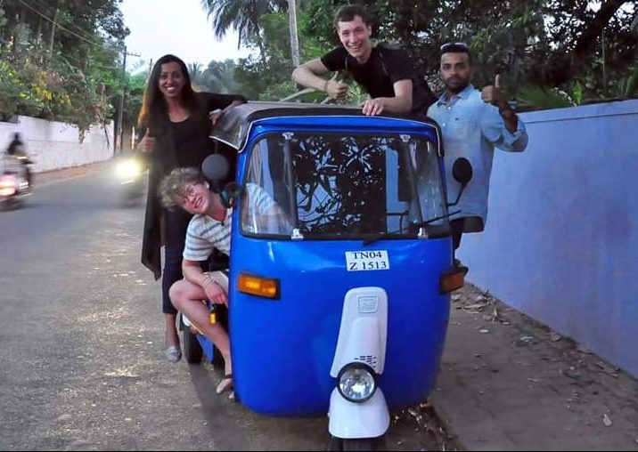 The two of us and friends showing of our tuk tuk in Calicut