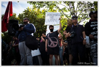 MacArthur Park Anti-Trump Protest & March - face masking added by R. Foster