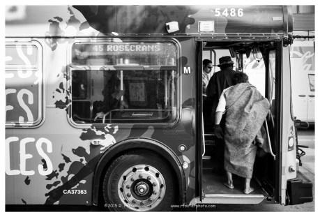 Shoeless on the Metra, DTLA, 2016