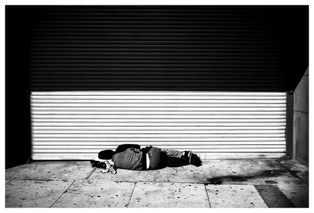 Homeless person sleeping in a storefront, Los Angeles, CA, November 2015, Leica Summilux 35 v2