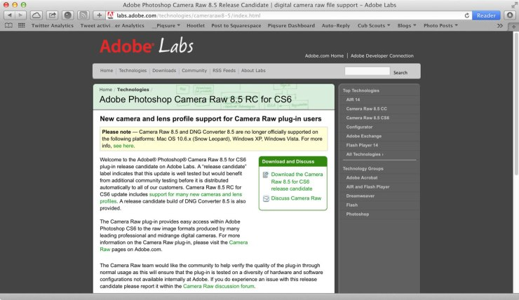 Lightroom 3. 6 and photoshop camera raw 6. 6 updates available now.