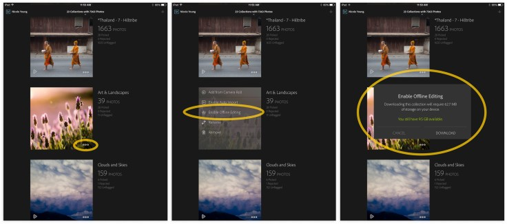 Here are the steps to enable offline editing on the Lr Mobile app.