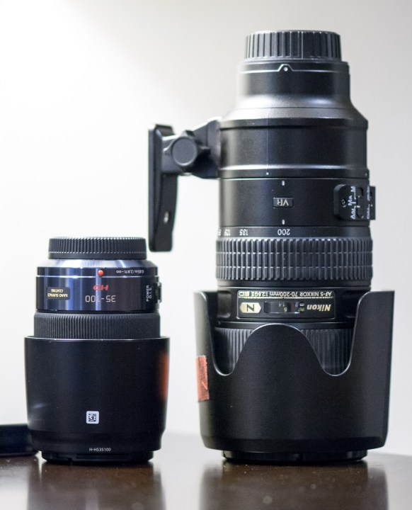 The Panasonic 35-100mm f/2.8 on the left offers a similar picture to the Nikon 70-200mm f/2.8 (II) on the right. The Panasonic costs $1000 less, and weighs just 12.7 oz (360 g) (less than one pound!) compared to the Nikon's 3.39 lb (1.54 kg).