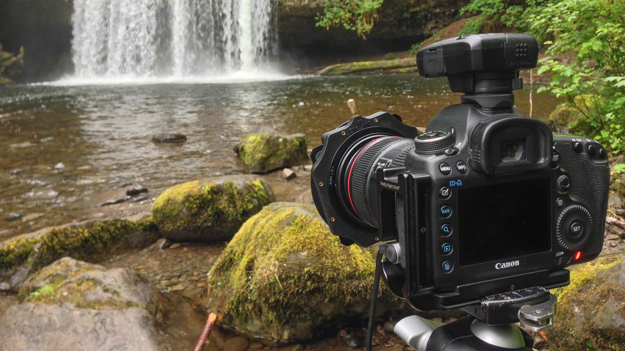 This is my basic setup when photographing waterfalls: Canon 5D Mark III, 24-70mm lens, Lee Filter Holder, and ND filter. Also, the object on the top of my camera is a GPS unit. CLICK HERE to read more about it.