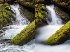 (Left) 1/45 sec; (Right) 133 sec