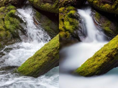 (Left) 1/45 sec; (Right) 133 sec