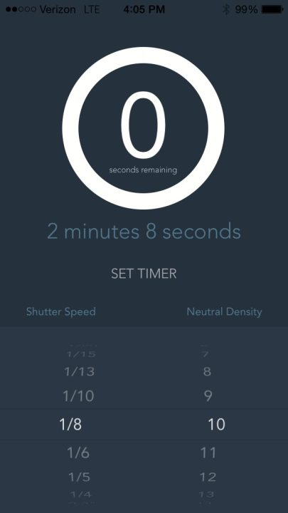 Dialing in shutter speed and the number of stops of your ND filter.