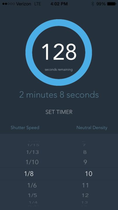 Load the time into the timer to countdown the duration needed to keep your shutter open.