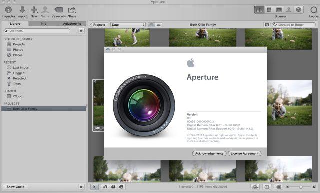 screenshot of aperture program open