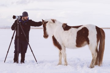 That's me and my Icelandic horse friend. I've got my Arc'teryx Theta AR shell and Atom LT mid-layer on and despite the freezing winds, I felt totally comfortable, warm, and dry. (Photo credit: Colby Brown)