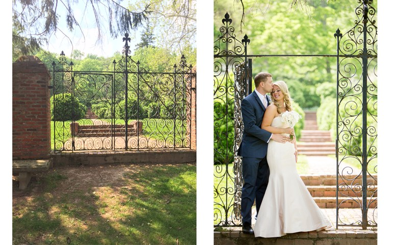 The shady spot with the iron gate at the end of the pathway was a much better compromise for photos. While there was some spotty light, there was enough shade to offer a nice exposure. Also, the path that was important to the bride, was still in the photo. ©Lovesome Photography