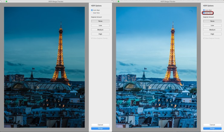 Two HDR Merge Previews. On the left without Auto Tone and with Auto Tone on the right.