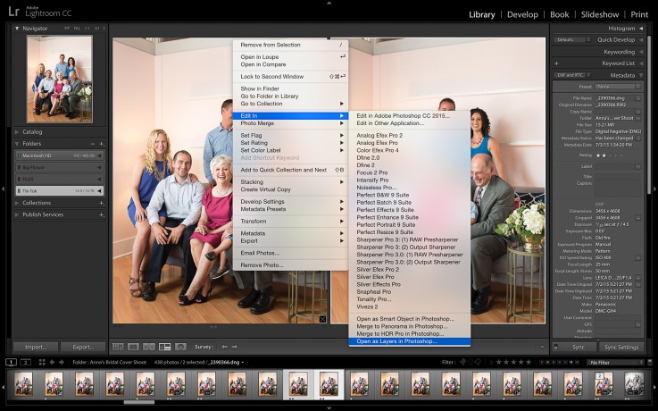 Select both pictures and choose Edit In>Open As Layers In Photoshop.