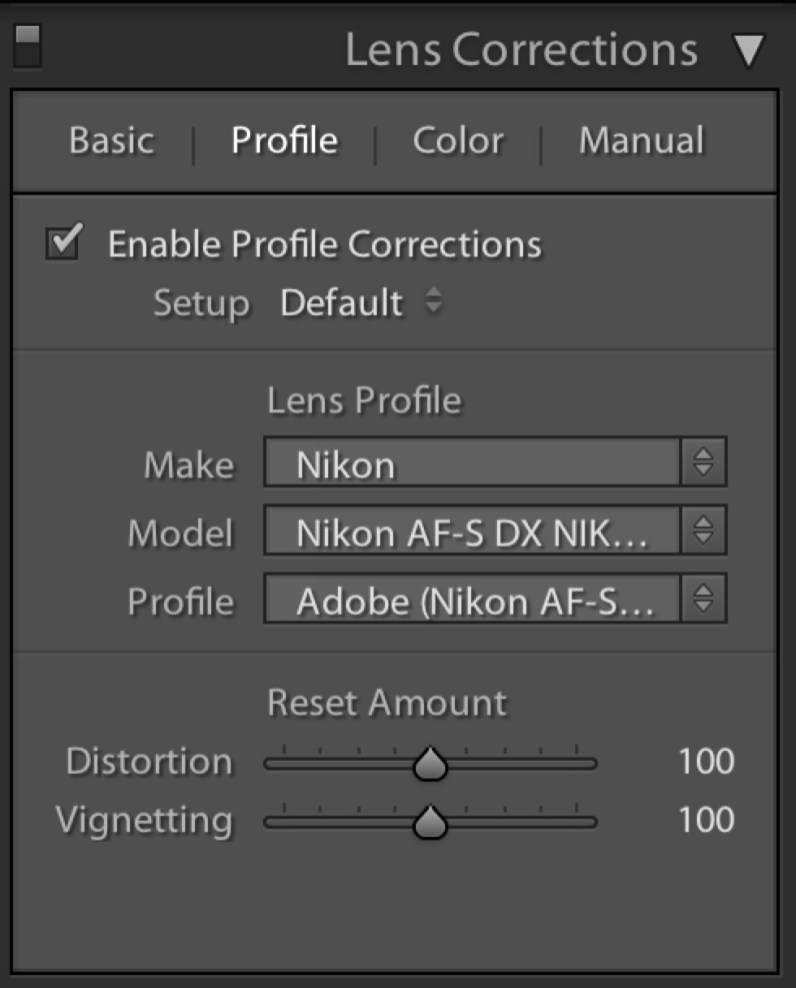 Confirm or refine the settings to match your lens and camera combination.