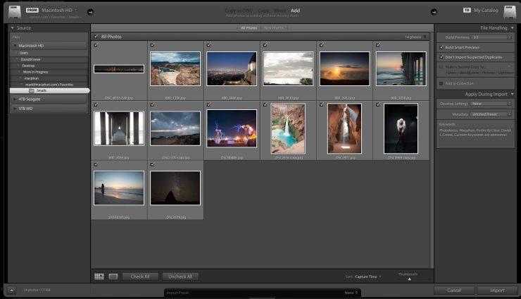 Adobe Lightroom Import Screen Options