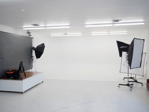 This studio included a cyclorama (a.k.a. infinity wall, sweep, cyc.)