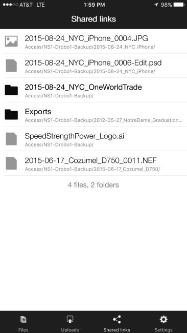 DroboAccess iOS Shared Links