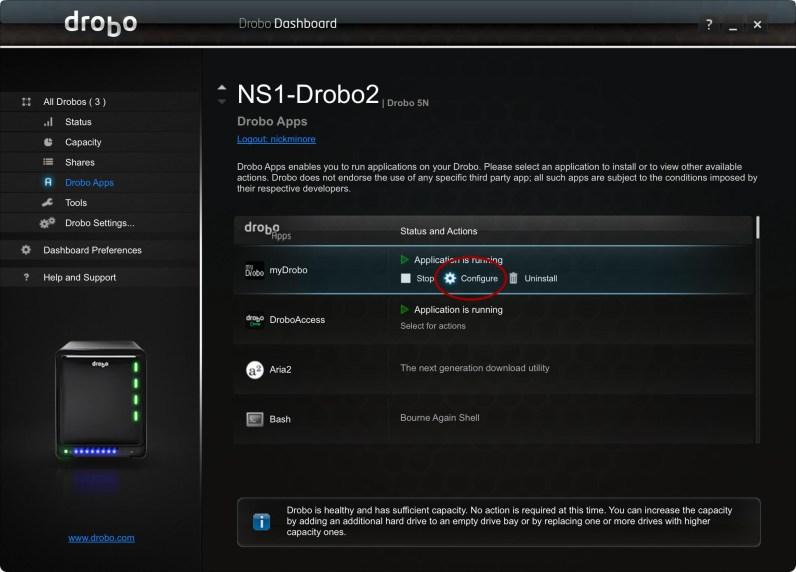 myDrobo Apps configure button