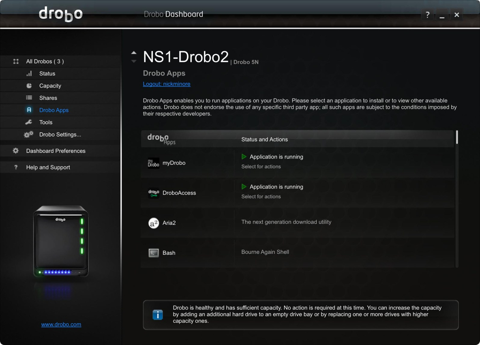 myDrobo Apps installed