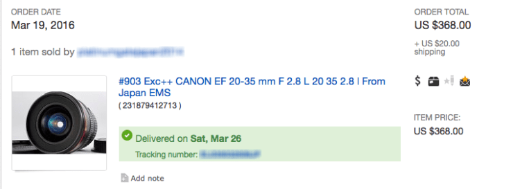 Screen Shot of eBay Transaction