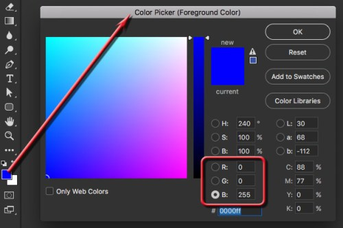 Selecting RGB Blue with Photoshop's Color Picker
