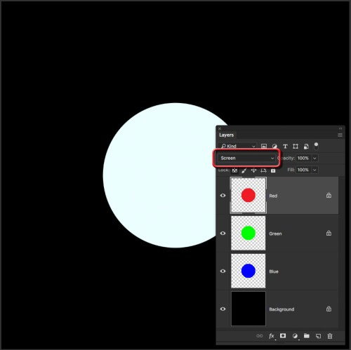 All three layers in Screen against black make white.