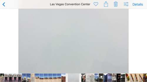 A white wall at the Las Vegas Convention Center with an iPhone 6Plus shows the exposure makes it 12.5% gray