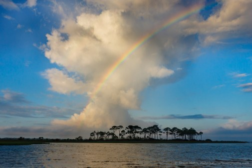 Rainbow Over St. George Island, Florida, in front of a growing thunderhead.