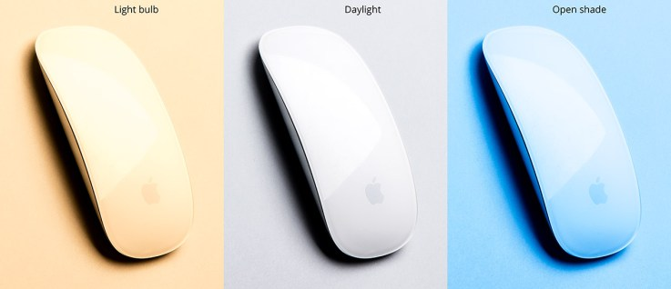 3 white mice under tungsten, daylight and open shade respectively