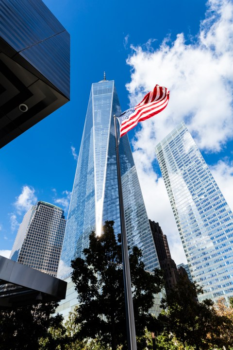 Freedom Tower at the World Trade Center from a corner of the 911 Museum