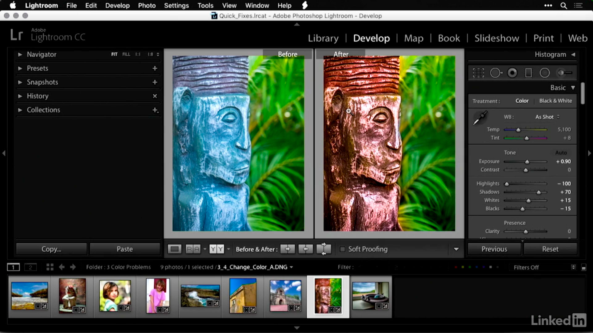 How do I change the color of an object in Lightroom