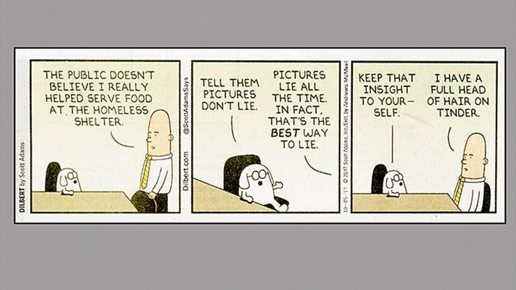 Dilbert ©Scott Adams Says Photos Lie