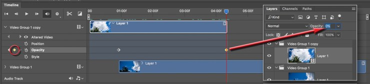 Setting keyframes on the top layer to control its opacity.