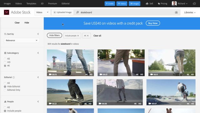 Finding stock video with visual search