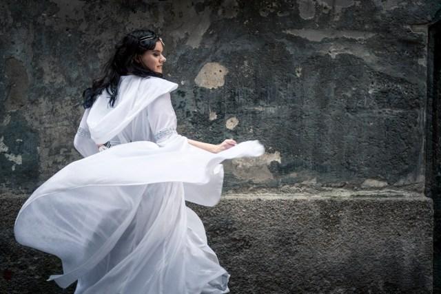 Girl, cosplay, white dress, elvish princess, dance